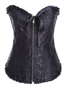 Retro Zipped Lace Up Corset - Black 6xl