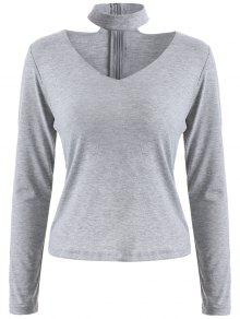 Long Sleeved Choker T-Shirt - Gray M