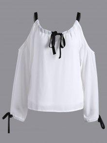 Cold Shoulder Blusa De La Gasa - Blanco Xl