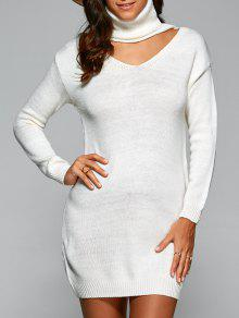 Turtleneck Choker Sweater - White
