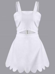 Figura Para Recortar Scallopped A-Line Vestido - Branco Xl