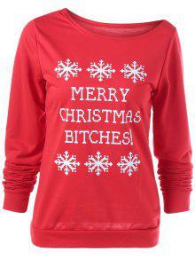 Merry Christmas Snowflake Print Sweatshirt - Red L