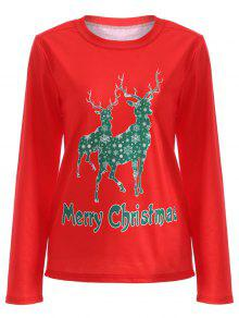 Camiseta Diseño Alce Navidad - Rojo M
