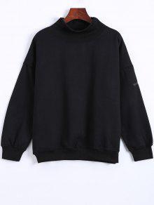 Sweatshirt Col Roulé Avec Patch - Noir