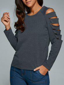 Cut Out Fitting T-Shirt - Gray S