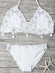 Mesh Crocheté Bikini - Blanc S