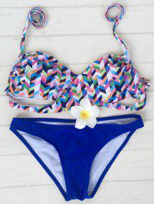 Halter Colorido Del Zigzag Del Bikini - Azul Xl