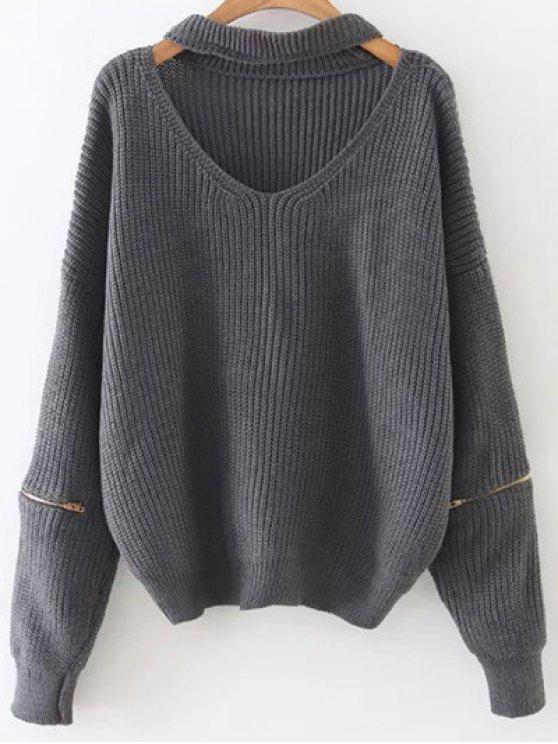 lady Zipped Oversized Choker Neck Sweater - GRAY
