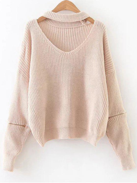 ladies Zipped Oversized Choker Neck Sweater - PINKBEIGE ONE SIZE