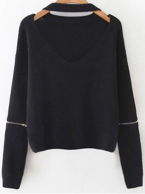 best Zipped Oversized Choker Neck Sweater - BLACK ONE SIZE