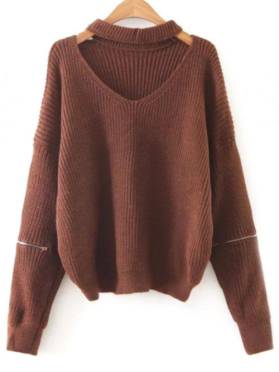 online Zipped Oversized Choker Neck Sweater - DARK AUBURN ONE SIZE