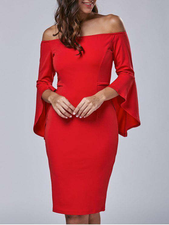 فستان بلا اكتاف توهج الأكمام - أحمر M