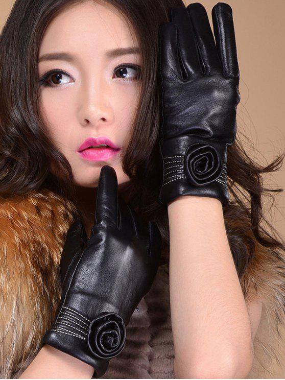 Flower Thicken Short Gloves - Noir L