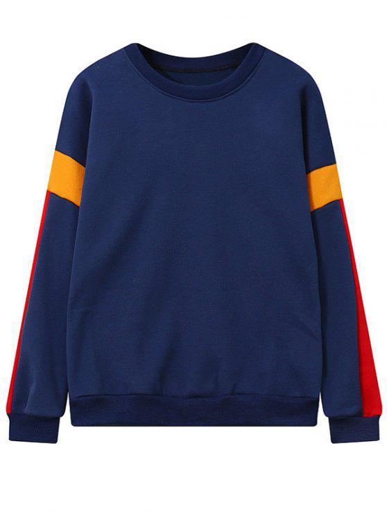 Color Block Fleece Sweatshirt - Bleu Foncé TAILLE MOYENNE