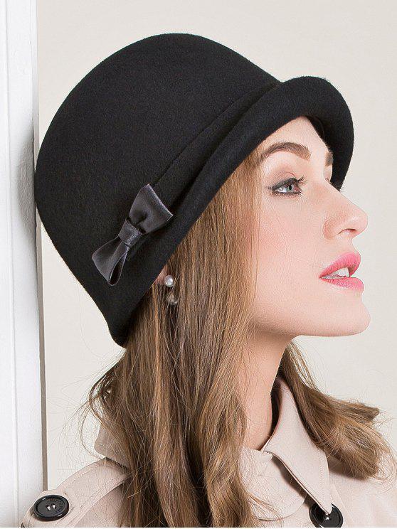 c85bafd5c80a8 19% OFF  2019 Satin Bowknot Felt Short Brim Bowler Hat In BLACK