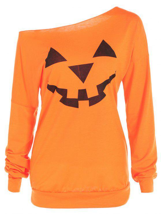 unique One Shoulder Pumpkin Print Halloween Sweatshirt - YELLOW ORANGE L