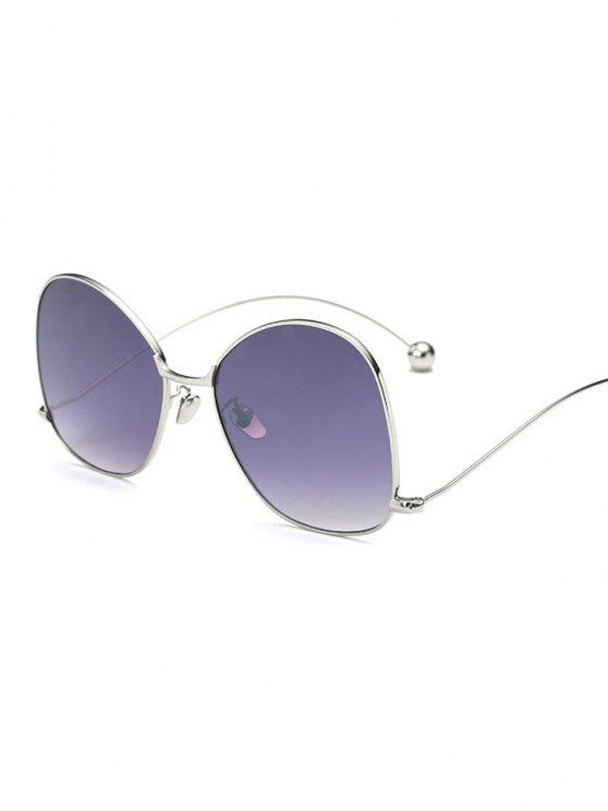 womens Small Ball Wave Leg Irregular Sunglasses - SILVER