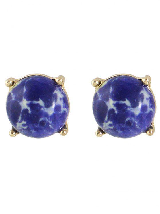 fancy Faux Stone Stud Earrings - GOLDEN