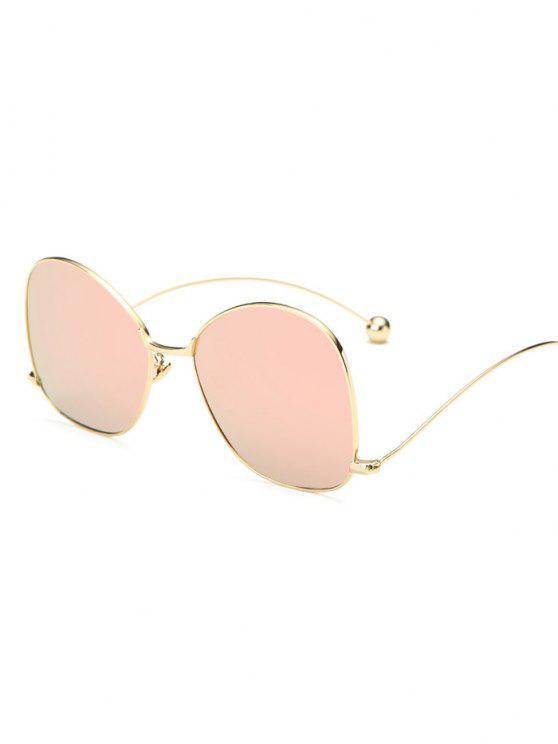 Pequeña bola de la onda de la pierna irregulares con espejo gafas de sol - Rosado Claro