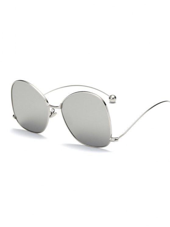 Pequeña bola de la onda de la pierna irregulares con espejo gafas de sol - Plata