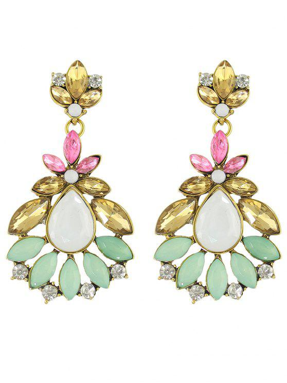 affordable Rhinestone Leaf Flower Earrings - COLORMIX