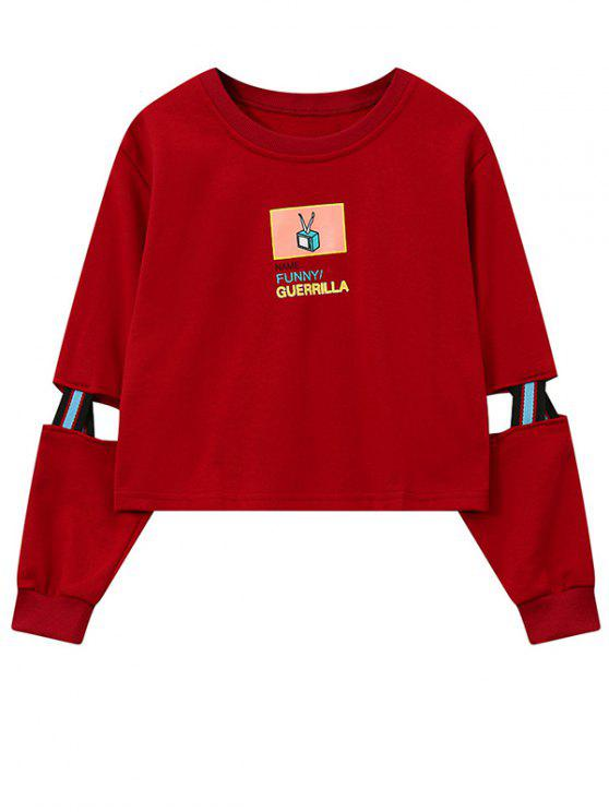 fashion Print Patched Spliced Sleeve Graphic Sweatshirt - RED ONE SIZE