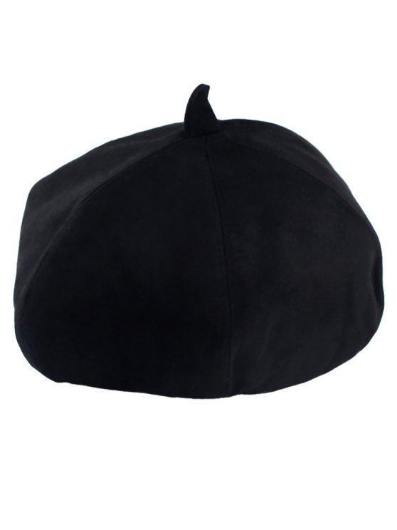 فو الجلد المدبوغ بيريه - أسود