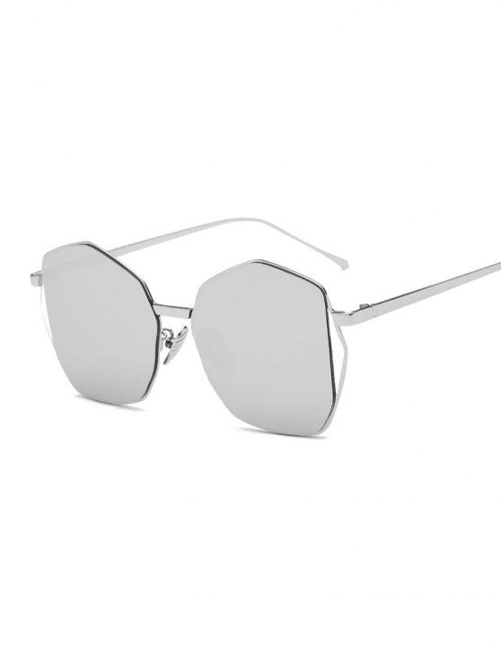 unique Triangle Embellished Irregular Mirrored Sunglasses - SILVER