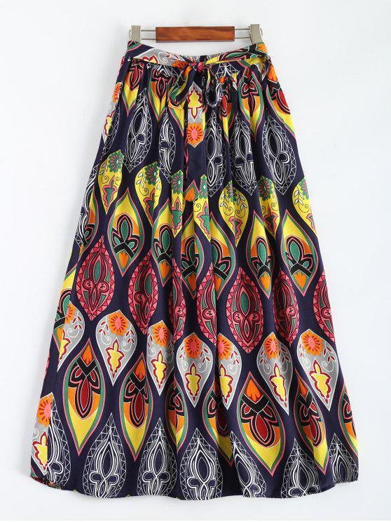Retro impresión del Bowknot de la falda maxi - Multicolor Única Talla