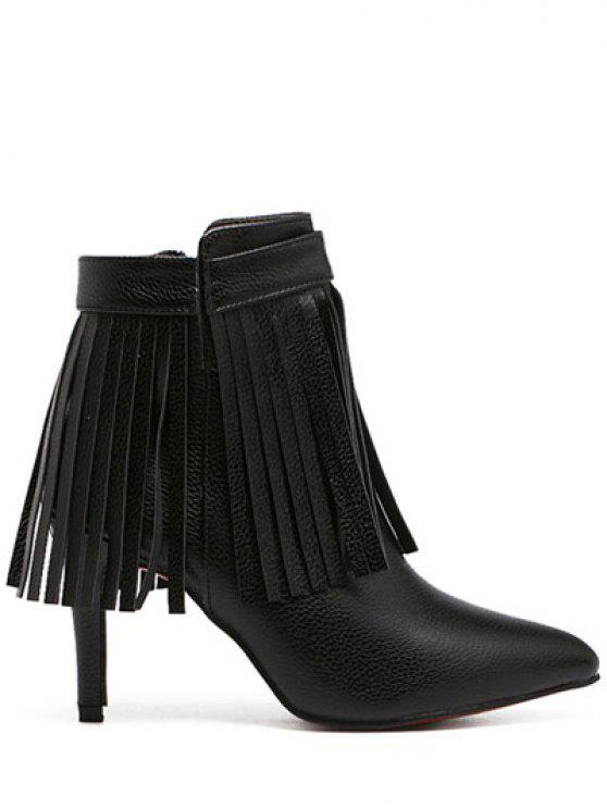 hot Fringe Pointed Toe Zipper Ankle Boots - BLACK 37