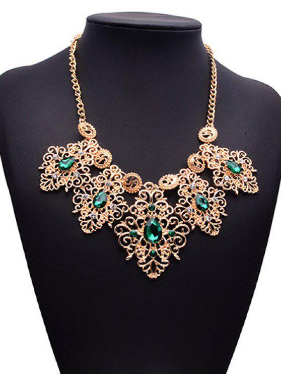 Collar floral grabado falso diamante artificial de la gema - Verde