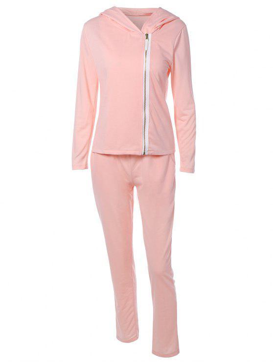 Zip Flying Kapuzen Sport Sweat Suit - Pink S