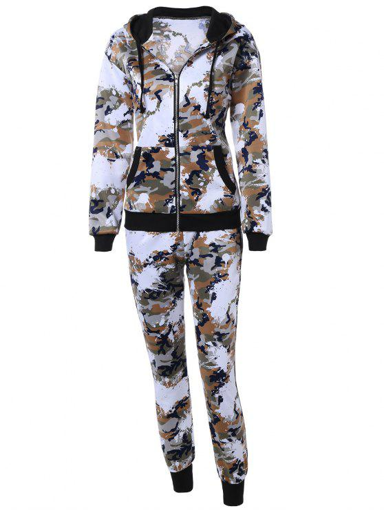 fashion Camo Hooded Sports Suit - JUNGLE CAMOUFLAGE XL
