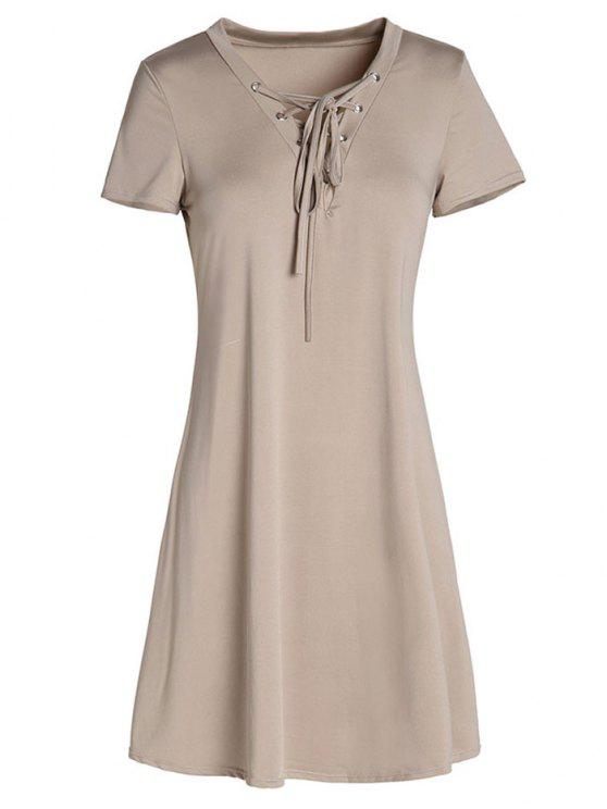 hot Lace-Up A-Line Dress - KHAKI L