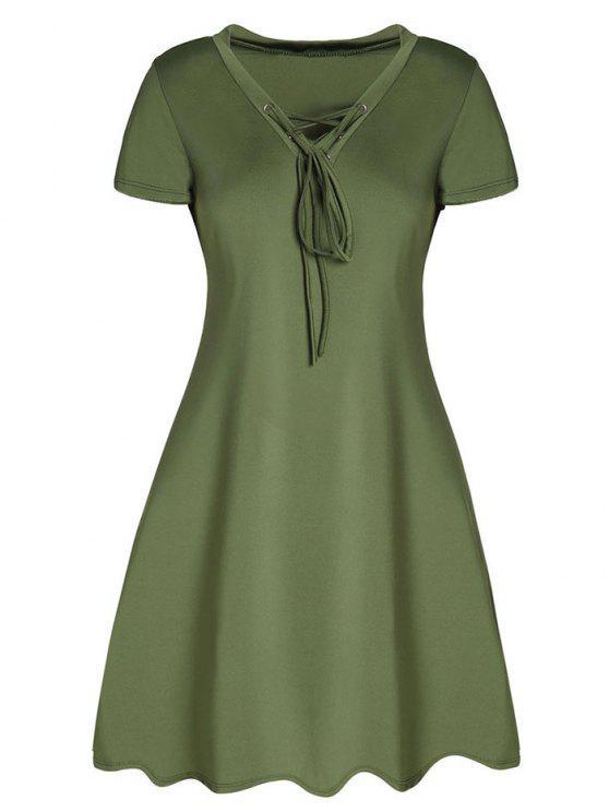 الفستان بشكل البرج مع الرباط - الجيش الأخضر L