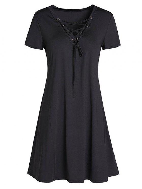 Lace-Up A-Line Vestido - Preto M