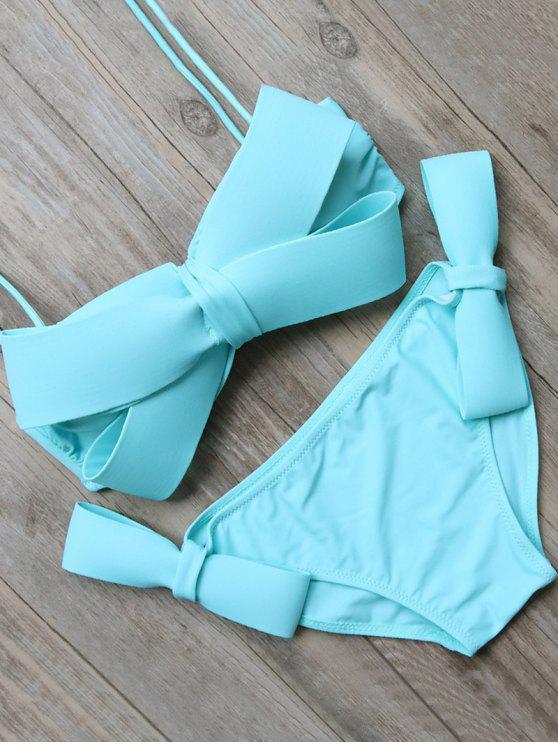 Del bowknot cabestro conjunto del bikini - Azul L