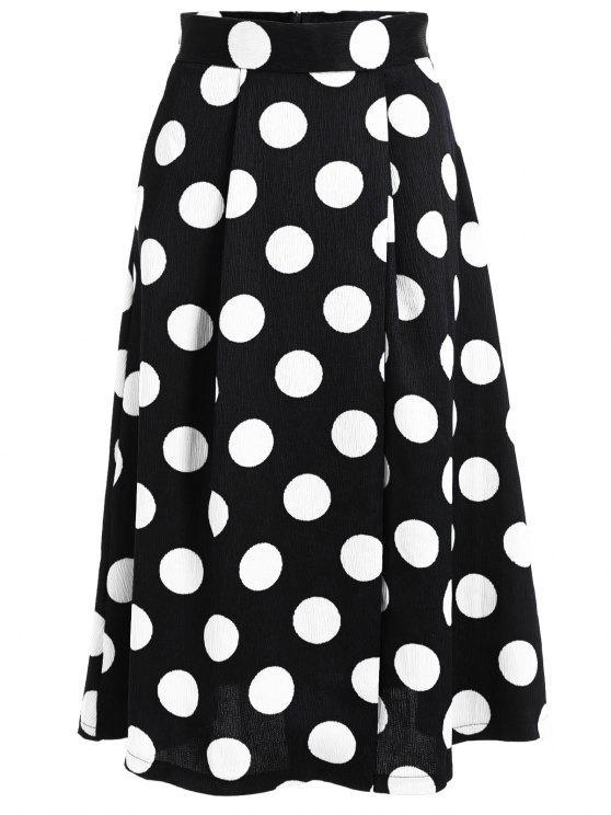 women's A Line High Waist Polka Dot Skirt - BLACK S