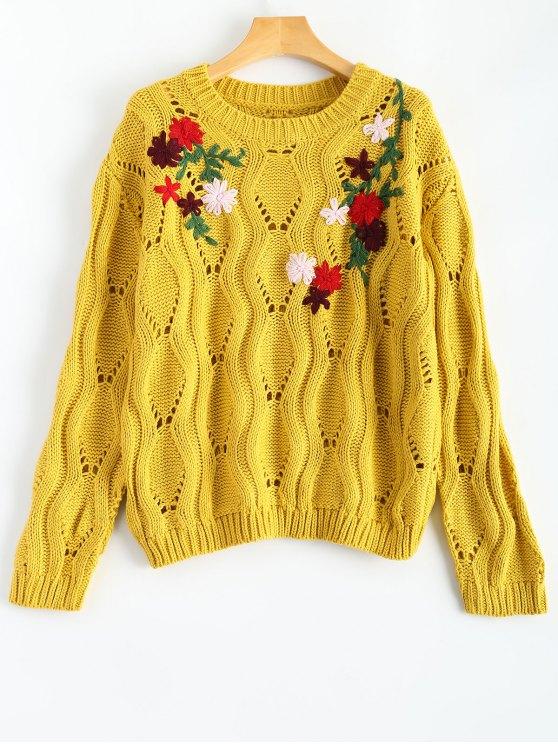 Pull Rétro brodé floral - Jaune TAILLE MOYENNE
