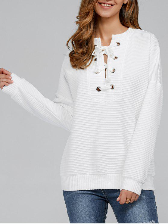 best Ribbed Lace Up Sweatshirt - WHITE M
