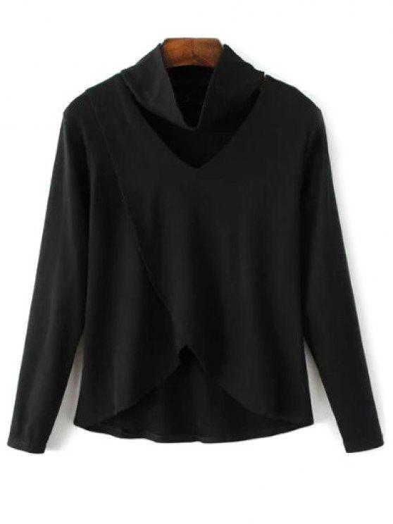 T-shirt décontractée asymétrique - Noir L