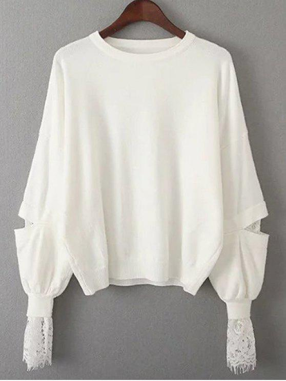 trendy Lantern Sleeve Lace Spliced Sweater - WHITE ONE SIZE