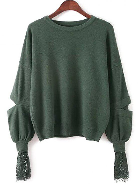688f6abb883cbe 34% OFF] 2019 Lantern Sleeve Lace Spliced Sweater In GREEN   ZAFUL ...