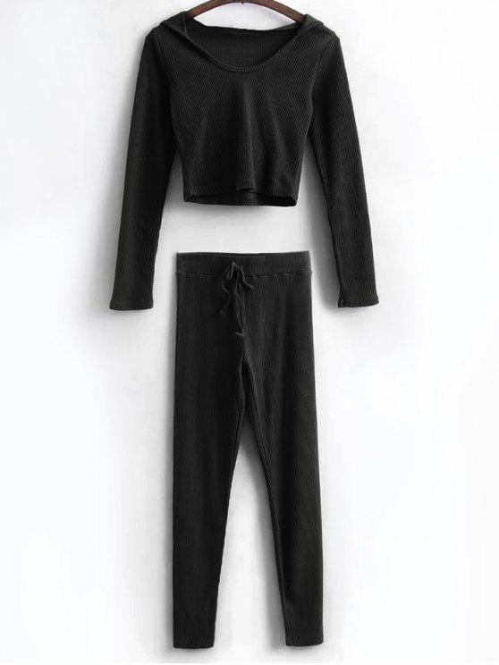 Camisa corta con capucha y polainas de lazo - Negro M