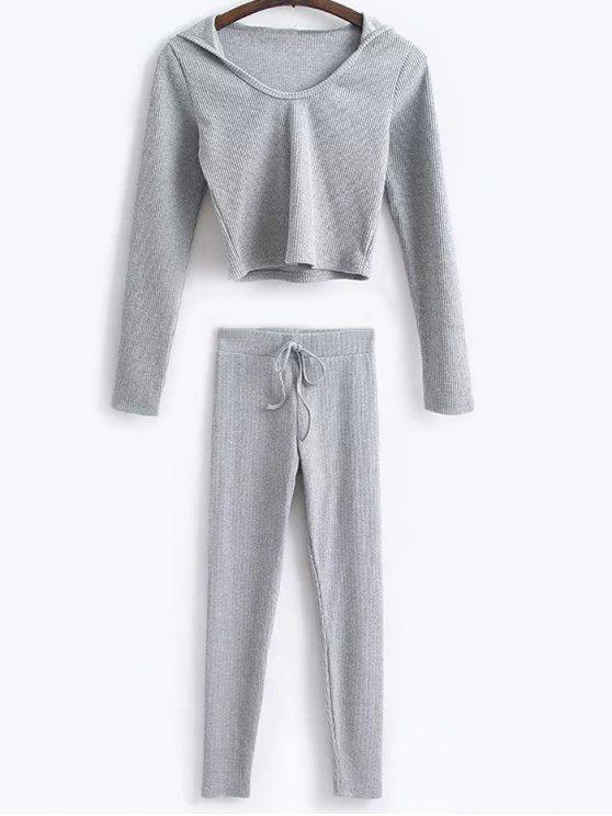 Camisa corta con capucha y polainas de lazo - Gris L