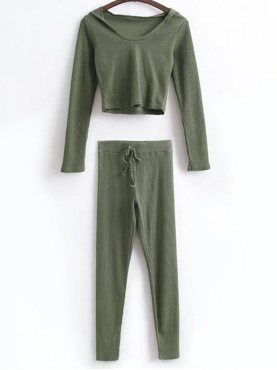 Top court à capuche  et leggings avec lacet - Vert Armée S