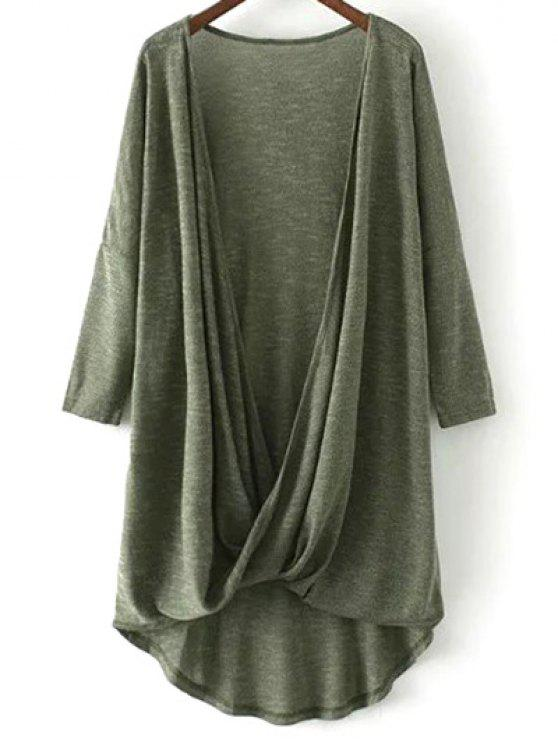 affordable Low Cut  Surplice T-Shirt - ARMY GREEN S