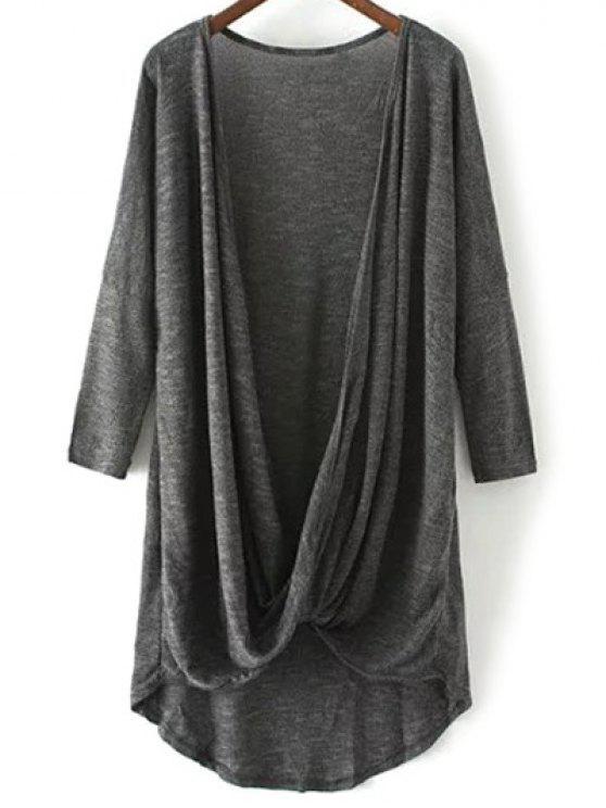 T-shirt à manches longues avec ourlet croisé - gris foncé M