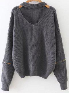Zipped Oversized Choker Neck Sweater - Gray