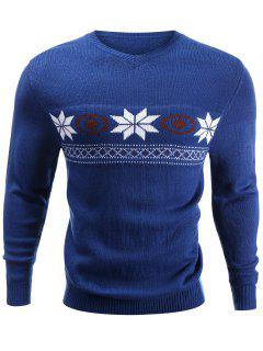 V-Neck Snowflake Sweater - Blue S